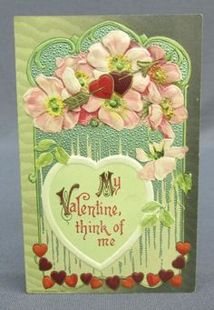 Antique Postcard 1910 Winsch Valentines Day Think of Me Heart Garland Arrows | eBay