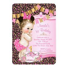 Girls Leopard 1st Birthday Card