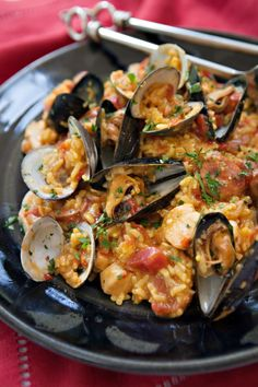 "Pressure cooked Paella - 4 minutes! From ""Blue Jean Chef: Comfortable in the Kitchen"""
