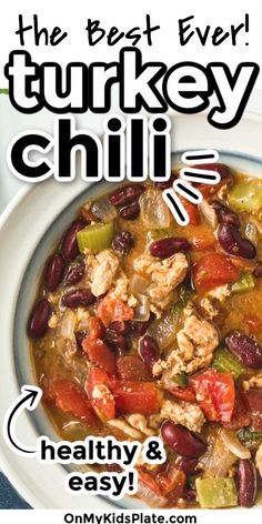 Healthy turkey chili is so cozy and hearty for a cold day! Made with lean ground turkey, beans and packed full of flavor and mild spices, this turkey chili is simply the BEST! Packed with plenty of protein and fiber this is a great stovetop recipe to make fast! #turkeychili #groundturkey