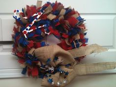 4th of July wreath out of burlap