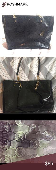 Michael Kors black leather purse Michael Kors black patent leather black purse with gold accents Michael Kors Bags Shoulder Bags