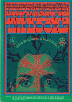 Original postcard for The Doors, The Sparrow (Steppenwolf), and Country Joe and the Fish from The Avalon Ballroom in 1967.  Art by Victor Moscoso. FD50. Minor corner bend. Approx 5 x 7 inches.