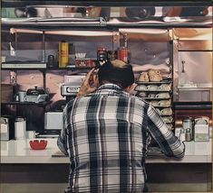 MORNING PAPER - RUBY'S DINER | 1995 | 24 x 26 | OIL — by Ralph Goings, photorealist painter