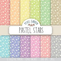 Instand download digital paper pack with a star pattern in pastel colors - coral, orange, yellow, olive green, mint green, baby blue, purple,