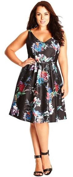 Plus Size Floral Print Satin Fit & Flare Dress