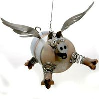 Metal Art including this fabulous Flying Pig