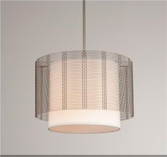 Downtown Mesh Drum & Fabric Shade Chandelier - ArtisanCraftedLighting