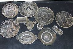 Vintage-1930s-Clear-Depression-Glass-Lot-Bowls-Cake-Stand-Plates-Etc