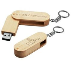 Madera Wood USB Flash Drive W/ Keychain