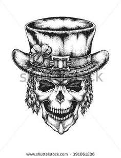 Hand drawn leprechaun skull wearing Irish hat with lucky three leaf clover. Saint Patricks Day. Vector illustration