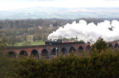 Whalley: British Railways Standard Pacific no 70000 'Britannia' eases a Carlisle to Bristol railtour over the Whalley viaduct on 10 March 2012. View is north across the Ribble Valley.