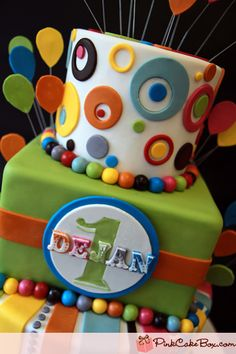 Close-up of striped and polka dot circus cake 1st Birthday Cakes, Carnival Birthday Parties, Birthday Ideas, Cupcakes, Cupcake Cakes, Pink Cake Box, Carnival Cakes, Fancy Cakes, Love Cake