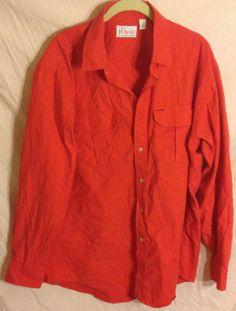 Men's ORVIS Dress Shirt RED Two Pockets size XL Cotton Button Down EUC Casual