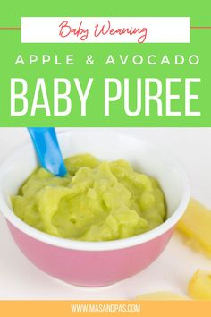 Vegan Gluten free Paleo · Serves 2 · Apples and avocados are two great first foods for baby. Both are packed with nutrients that help with baby's growth and development. Whip up this simple fresh avocado puree for baby in just a few minutes as one of their first meals. #firstfoods #apple #avocado #puree #babyfood #appleavocadopuree #recipe Baby Led Weaning Breakfast, Baby Led Weaning First Foods, Baby First Foods, Baby Weaning, Baby Finger Foods, Avocado Baby Puree, Fresh Avocado, Healthy Baby Food, Healthy Toddler Meals