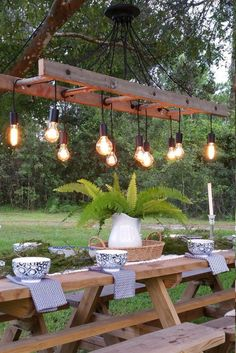 Outdoor Antique Farmhouse Ladder Chandelier with Vintage Edison Bulbs - Pendant . Outdoor Antique Farmhouse Ladder Chandelier with Vintage Edison Bulbs - Pendant Lighting - Cozy up to the table and Antique Farmhouse, Farmhouse Style, Farmhouse Ideas, Modern Farmhouse, Farmhouse Front, Farmhouse Design, Rustic Style, Farmhouse Decor, Decoration Design