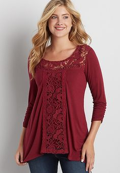 tee with crochet   maurices