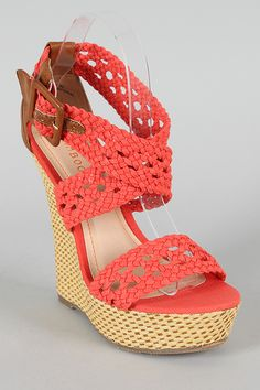 Bamboo Pompey-39 Canvas Woven Criss Cross Open Toe Wedge $30.40