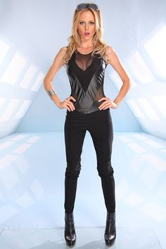 28b72015ebb BLACK MESH FAUX PLEATHER ACCENT SLEEVELESS STRAIGHT SKINNY LEG JUMPSUIT