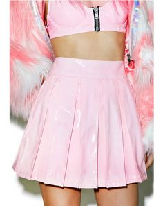 X Dolls Kill Princess Pastel Vinyl Skirt ❤ Pinned by Cindy Vermeulen. Please check out my other 'sexy' boards. Pink Skater Skirt, High Waisted Skater Skirt, Pink Pleated Skirt, Skirt Mini, Flare Skirt, Mini Skirts, Waist Skirt, Skater Skirts, Circle Skirts