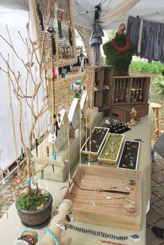 Craft Show Display - Gold jewelry tree; up-cycled vintage Coke + Pepsi woodcrates; moss hand-covered body form