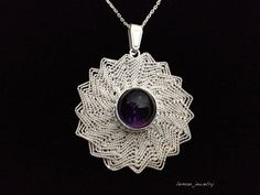 Items similar to Tradional Jewelry ''Trabzon Hasiri'' Necklace with Amethyst on Etsy Silver Filigree, Quilling, Wire Wrapping, Macrame, Jewellery, Abstract, Unique Jewelry, Handmade Gifts, Earrings