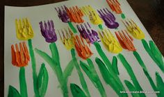 Tulpen stempelen met een vork. Painting Tulips with a fork.