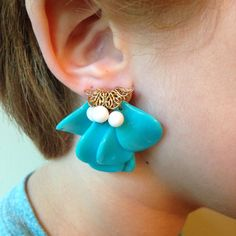 60s Turquoise White & Gold Earrings Costume Jewelry by MayDayRiots