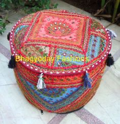 Indian Ethnic Embroidery Vtg Patchwork Ottoman Chair Footstool Pillow Cover Pouf