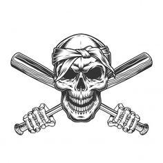 Vintage cráneo monocromo en bandana | Vector Gratis Baseball Batter, Casual Art, Gangster Rap, Deadpool Wallpaper, Vintage Bandana, Skeleton Hands, Monochrome Fashion, Graphic Design Inspiration, Retro
