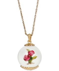 Betsey Johnson Gold-Tone Glittery Flowers in a Globe Pendant Necklace