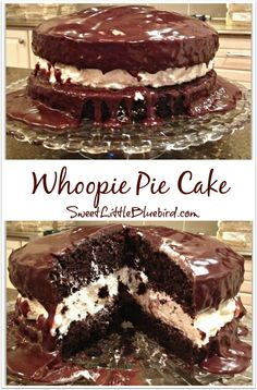 WHOOPIE PIE CAKE! Decadent chocolate cake with a cream filling drenched in ganache! Oh so good! | SweetLittleBluebird.com