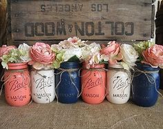 6 Pint Mason Jars Painted Mason Jars Flower Vases Rustic Wedding Centerpieces Navy Blue Dark Coral And Creme Mason Jars Fall Mason Jars, Pint Mason Jars, Blue Mason Jars, Rustic Mason Jars, Rustic Vases, Beach Mason Jars, Distressed Mason Jars, Mason Jar Vases, Rustic Table