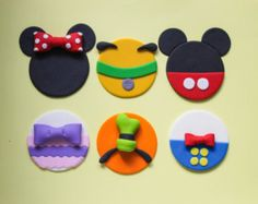 12 Mickey Mouse Clubhouse Party Fondant Cupcake Toppers