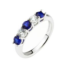 This lovely eternity anniversary ring is sterling silver with platinum plating. The ring is set with two clear and three royal blue, round cut cubic zirconia stones.