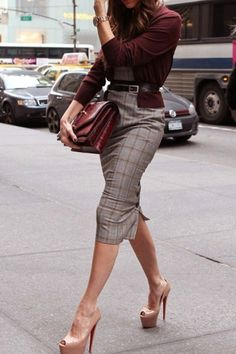 Pencil Skirt: The right pencil skirt flatters any body shape when combined with the right pieces. Choose one that has  a lining, which indicates quality, especially in suits and pencil skirts.