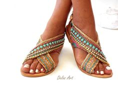 """Excited to share the latest addition to my #etsy shop: Greek Leather Sandals """"Sofia"""" , Handmade sandals , Boho sandals, Women's Shoes, Genuine leather shoes, oriental sandals http://etsy.me/2CXiYAE #clothing #shoes #women #green #blue #leathersandals #gladiatorsandals"""