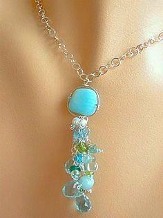 Peruvian blue Opal Amazonite Apatite Sea Cascade Silver necklace