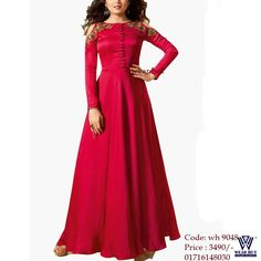 07bf5218573ce red long gown em hgbroidery dress women s online shopping bd Dhaka BD