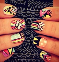 Aztec nail art reference.