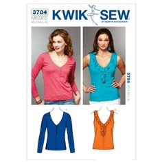 Amazon.com: Kwik Sew K3784 Tops Sewing Pattern, Size XS-S-M-L-XL: Arts, Crafts & Sewing