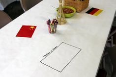 Color while you eat, design a flag activity explor parti, 4th birthday, olymp parti, flag, birthday parties, birthday secret