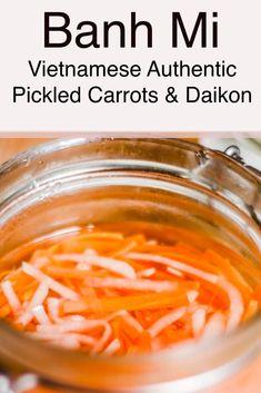 pickled daikon and carrots Vietnamese banh mi | ingredients for banh mi | pickled carrots for banh mi #vietnamesefood #vietfood #deliciousvietnamesefood