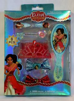 Disney Elena of Avalor Gift Set NEW Princess Royal Tiara Crown, Hair Brush, Bows #Disney