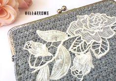 Cartera plata, bolso romántico, ganchillo, boquilla, boho clutch, bordado blanco, rosa blanca, boda, nupcial, fiesta, aplicación bordada