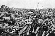 In this September 1900 file photo, a large part of Galveston, Texas, is reduced to rubble after being hit by a surprise hurricane Sept. More than people were killed and left homeless from the storm, the worst natural disaster in U. 1900 Galveston Hurricane, Texas Hurricane, Galveston Texas, Galveston Island, Library Of Congress, Storm Surge, Natural Disasters, East Coast, Strand