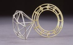 Greg Sims: Wire Frame Ring- Laser welded, 18KT Gold and Platinum, 2003.