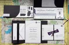 my favorite! love this simple yet really fun travel invite. airplanes in the corner of invite. airline ticket as part of the invite.  would choose a different color than black though.