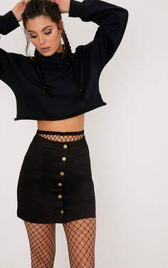 Cammie Black Denim Mini Skirt - Mini Skirts - Ideas of Mini Skirts Casual Dresses, Casual Outfits, Cute Outfits, Rock Outfits, Modest Outfits, Dress Outfits, Dress Shoes, Skirt Fashion, Fashion Outfits
