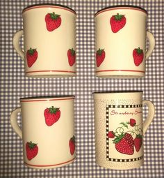 Vintage strawberry ceramic mugs, 3 mugs that are similar are made in Japan and the single non-matching one in made in China and Im not sure if that one is vintage but I figure it can tag along with the others. Strawberry Delight, Cute Strawberry, Strawberry Shortcake, Vintage Dishes, Vintage Ceramic, Ceramic Mugs, Ceramic Bowls, Ceramic Art, Slab Pottery
